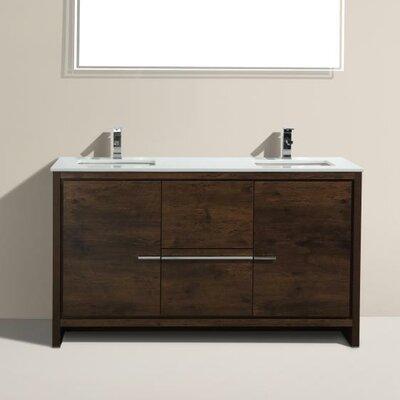 Bosley 60 Double Sink Modern Bathroom Vanity Base Finish: Rose