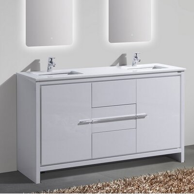 Bosley 60 Double Sink Modern Bathroom Vanity Base Finish: High Gloss White