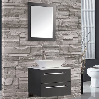 Bosarge 24 Single Sink Wall Mounted Bathroom Vanity Set with Mirror