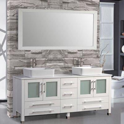 Bosarge 61 Double Bathroom Vanity Set with Mirror Base Finish: White
