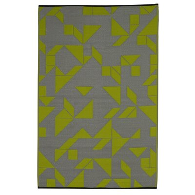Bostick Hand Woven Lime/Gray Indoor/Outdoor Area Rug Rug Size: 4 x 6