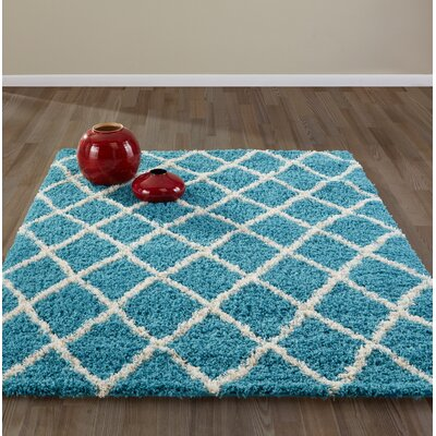 Bostrom Shag Blue/Ivory Area Rug Rug Size: Rectangle 8 x 10