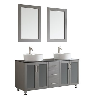 Boswell 60 Double Vanity Set with Mirror Base Finish: Grey