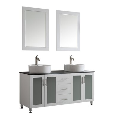Boswell 60 Double Vanity Set with Mirror Base Finish: White