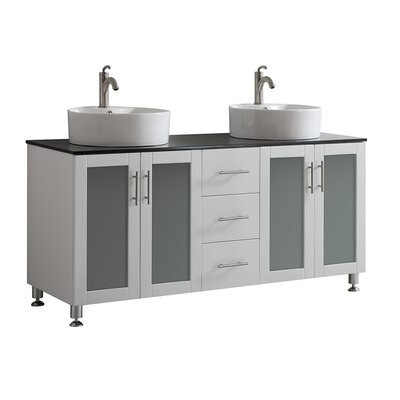 Boswell 60 Double Vanity Set Base Finish: White