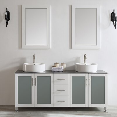 Boswell 72 Double Vanity Set with Mirror Base Finish: White, Top Finish: Aqua Black