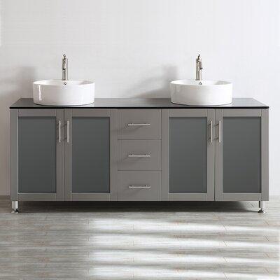Boswell 72 Double Vanity Set Base Finish: Grey