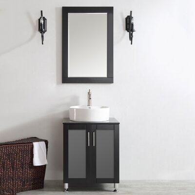 Boswell 24 Single Vanity Set with Mirror Base Finish: Espresso