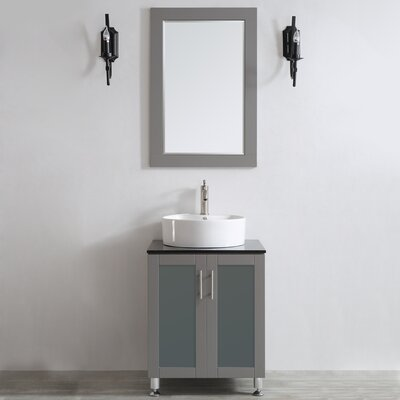 Boswell 24 Single Vanity Set with Mirror Base Finish: Grey