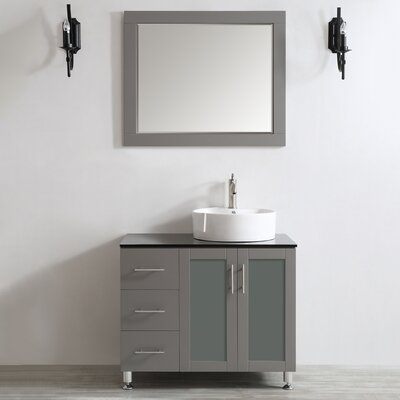 Boswell 36 Single Vanity Set with Mirror Base Finish: Grey