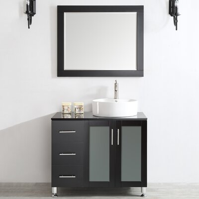 Boswell 36 Single Vanity Set with Mirror Base Finish: Espresso