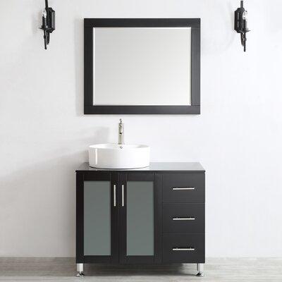 Boswell 36 Single Vanity Set with Mirror Base Finish: Espresso