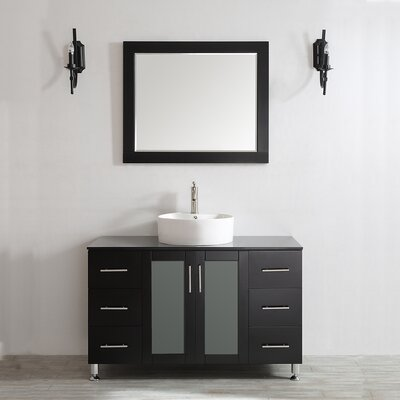 Boswell 48 Single Vanity Set with Mirror Base Finish: Espresso