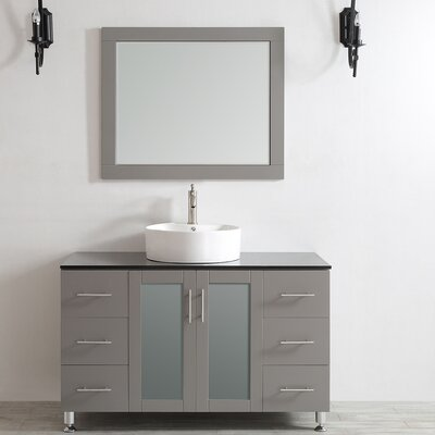 Boswell 48 Single Vanity Set with Mirror Base Finish: Grey