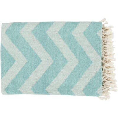 Manases 100% Cotton Throw Blanket Color: Ivory / Aqua