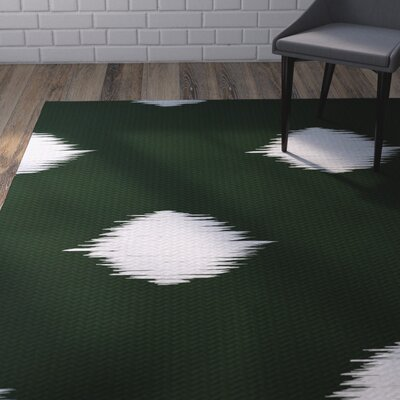 Urbina Decorative Holiday Ikat Print Dark Green Indoor/Outdoor Area Rug Rug Size: 3 x 5