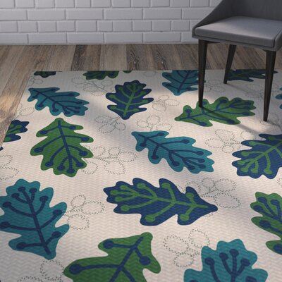 Avalos Leaf Blue Indoor/Outdoor Area Rug Rug Size: 4 x 6