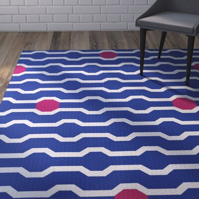 Uresti Decorative Holiday Geometric Print Royal Blue Woven Indoor/Outdoor Area Rug Rug Size: 2' x 3'