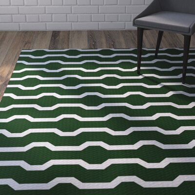 Uresti Decorative Holiday Geometric Print Dark Green Indoor/Outdoor Area Rug Rug Size: 2 x 3