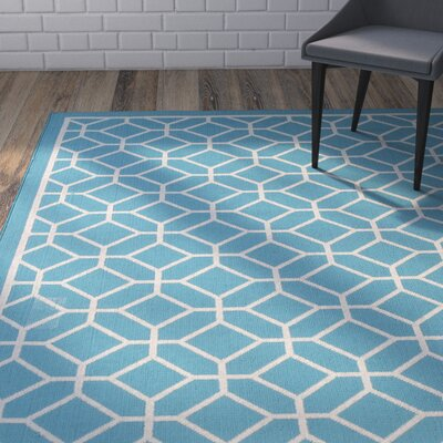 Hearn Blue Indoor/Outdoor Area Rug Rug Size: 53 x 76