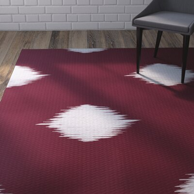 Urbina Decorative Holiday Ikat Print Cranberry Burgundy Indoor/Outdoor Area Rug Rug Size: 4 x 6