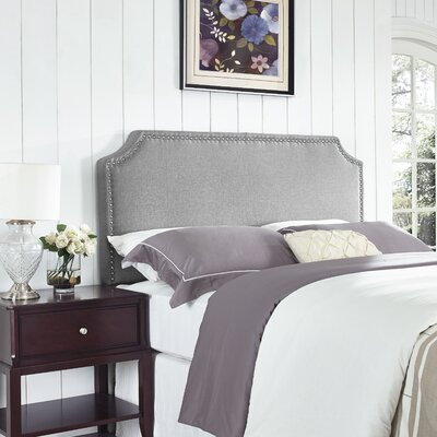 Luna Nail Trim Upholstered Panel Headboard Size: Full / Queen, Upholstery: Sand Stone