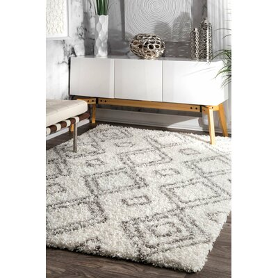 Baxley Manning White Area Rug Rug Size: 53 x 76