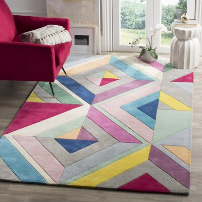 Carlberg Hand-Tufted Gray/Yellow Area Rug Rug Size: 4 x 6