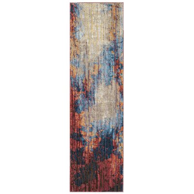 Burch Blue/Rust Area Rug Rug Size: 51 x 76