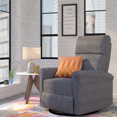 Beckham Manual Swivel Glider Recliner Upholstery: Gray