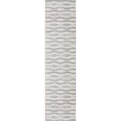 Lada Abstract Waves Gray/White Area Rug Rug Size: Runner 25 x 95