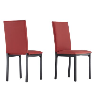 Nikon Upholstered Side Chair Upholstery: Red