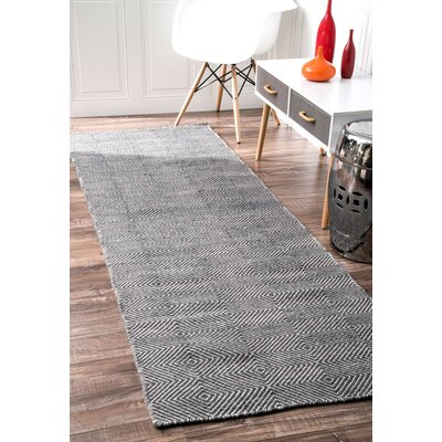 Marcelo Flat Woven Cotton Gray Area Rug Rug Size: Runner 26 x 8