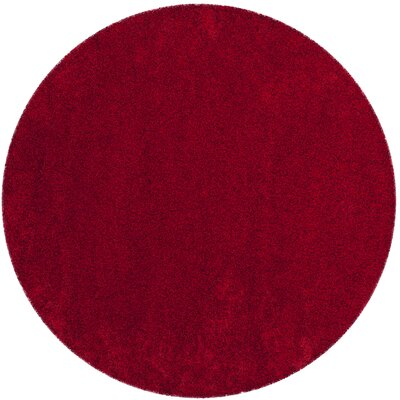 Brickner Red Area Rug Rug Size: Round 67 x 67