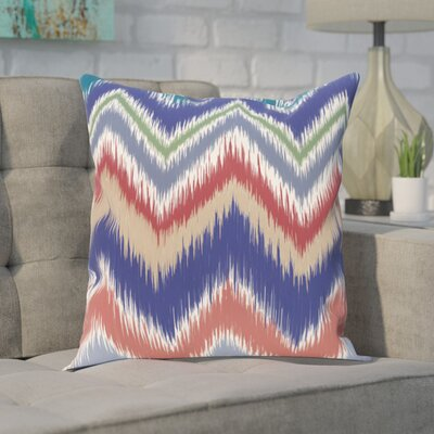 Guillame Chevron Stripes Print Outdoor Pillow Color: Blue Suede, Size: 16 H x 16 W x 1 D