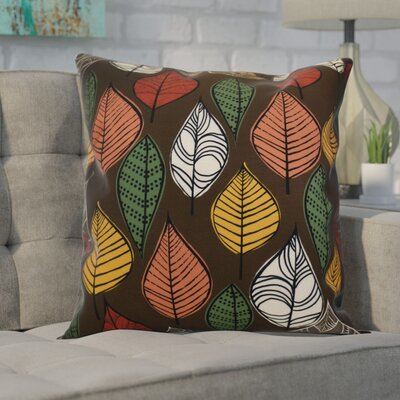 Avalos Leaves Floral Outdoor Throw Pillow Size: 16 H x 16 W x 2 D, Color: Brown