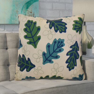 Avalos Retro Leaves Floral Euro Pillow Color: Blue