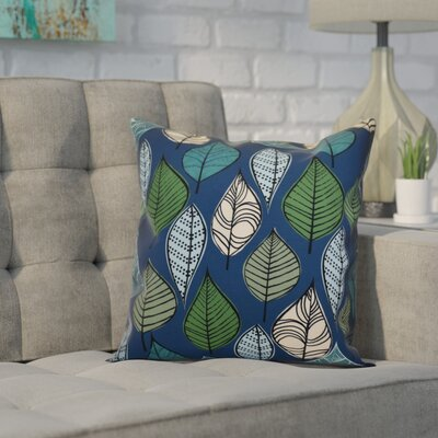 Avalos Leaves Floral Throw Pillow Size: 16 H x 16 W x 2 D, Color: Blue