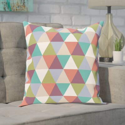 Seybert Geometric Print Outdoor Pillow Color: Green, Red, Size: 18 H x 18 W x 1 D