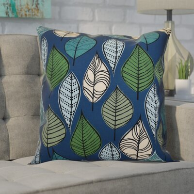 Avalos Leaves Floral Outdoor Throw Pillow Size: 18 H x 18 W x 2 D, Color: Blue