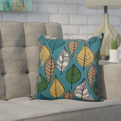 Avalos Leaves Floral Throw Pillow Size: 20 H x 20 W x 2 D, Color: Teal