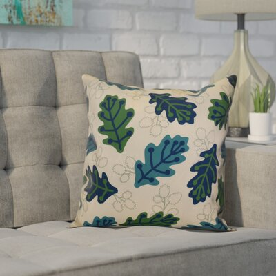 Avalos Retro Leaves Floral Outdoor Throw Pillow Size: 16 H x 16 W x 2 D, Color: Blue