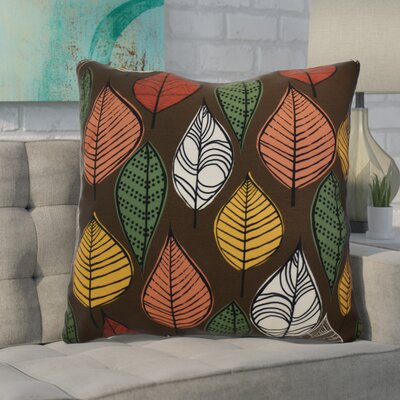 Morano Leaves Floral Euro Pillow Color: Brown
