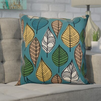 Avalos Leaves Floral Outdoor Throw Pillow Size: 18 H x 18 W x 2 D, Color: Teal