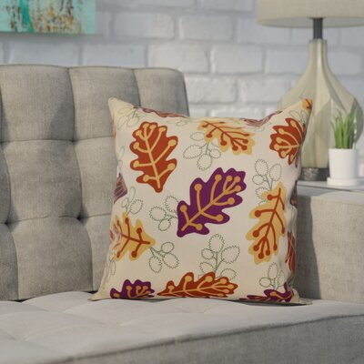 Avalos Retro Leaves Floral Outdoor Throw Pillow Size: 18 H x 18 W x 2 D, Color: Purple