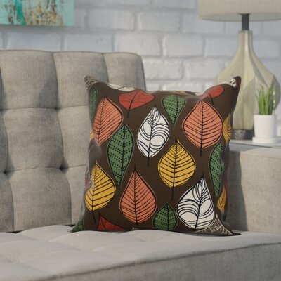 Avalos Leaves Floral Throw Pillow Size: 16 H x 16 W x 2 D, Color: Brown