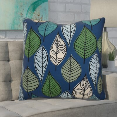 Avalos Leaves Floral Euro Pillow Color: Blue