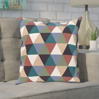 Seybert Geometric Print Outdoor Pillow Color: Mahogany, Size: 18