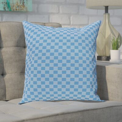 Buettner Geometric Print Outdoor Pillow Color: Azure, Size: 18 H x 18 W x 1 D