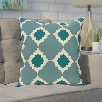 Pollard Geometric Print Throw Pillow Size: 26 H x 26 W, Color: Aqua